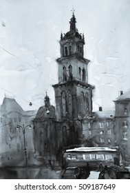 old city watercolor painting