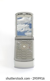 Old clam shell style flip phone cellphone screen open isolated closeup vertical