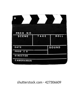 Old clapperboard as used by the movie, film, and video industry for synchronizing sound and pictures, and referencing scenes or takes.