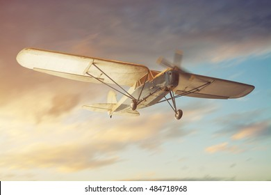 Old classic airplane on the air