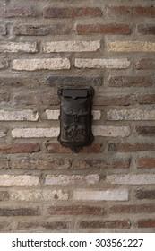 Old Classic Box on Brick Wall.