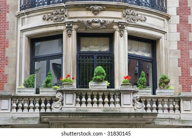 Old classic New York, Manhattan building - details with balcony