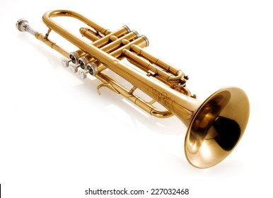 old classic trumpet on white background