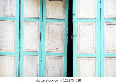 old classic vintage wooden folding door background.