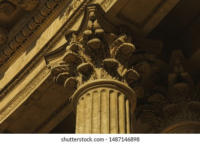Old classical architecture concept. Vintage column with decorative elements of Kazan Cathedral in Saint Petersburg under. Close up. Outdoor shot