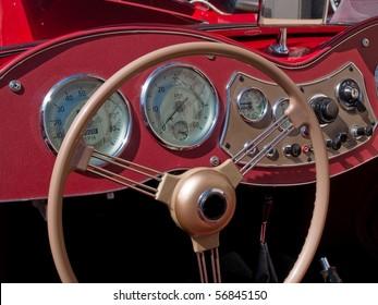 Old classical British vintage sports car dashboard