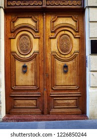 Old classical decorative ornated medieval style wooden door Alicante Costa Blanca Spain
