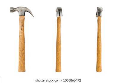 old claw hammer seen from three sides