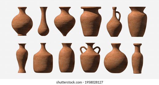 Old clay 3d pitcher. Magic 3d vases of various types. Antique 3d amphora in vector form. - Shutterstock ID 1958028127