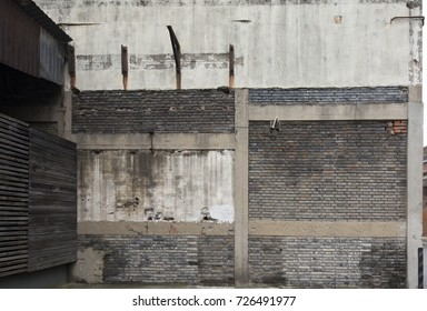 Old clay and grey brick background for designer