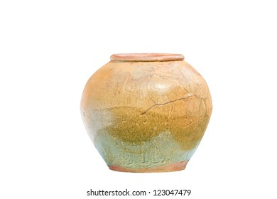 Old clay jar isolated on white background
