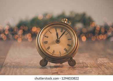 Old clock with bokeh background