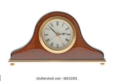 Old clock isolated on white background.