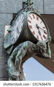 Old clock in Stockholm. Stockholm, Sodermanland and Uppland, Sweden.