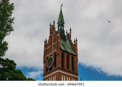 an old clock tower in the Gothic style, is located in Kaliningrad.