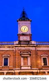 Old clock tower at Piazza del Popolo in Ravenna, Italy