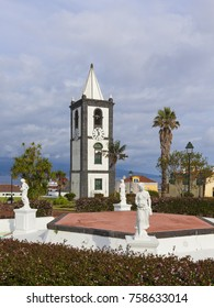 Old clock tower and public park at Horta, Faial island, Azores