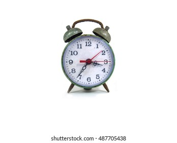 old clock white background