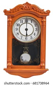 Old clock wooden at 06.00 am / pm, on a white background.