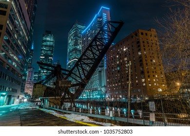Old closed KInzie Bridge in Chicago downtown by the river