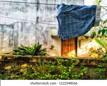 Old cloth and men's underwear drying