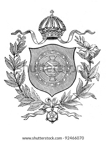 old coat arms brazil engraving by stock photo edit now 92466070 Travel Magazine Covers engraving by alwin zschiesche published on illustrierts briefmarken album leipzig germany 1885 image