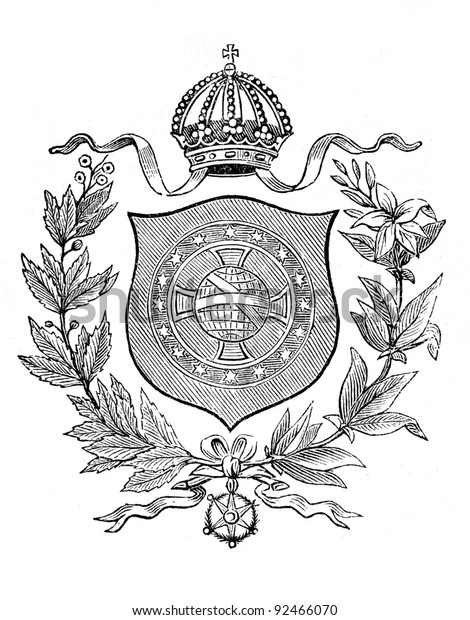"""The old coat of arms of Brazil. Engraving by Alwin Zschiesche published on """"Illustrierts Briefmarken Album"""", Leipzig, Germany, 1885."""