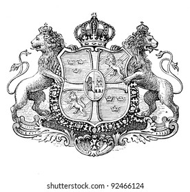 The old coat of arms of Sweden. Engraving by Alwin Zschiesche published on