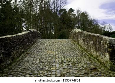 Old cobbled Brig O Doon at Alloway Ayr Scotland