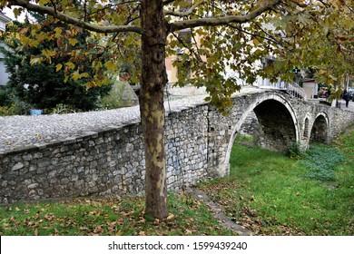 Old cobbled stone bridge in Tirana, Albania