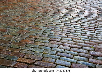 old cobbles on the road