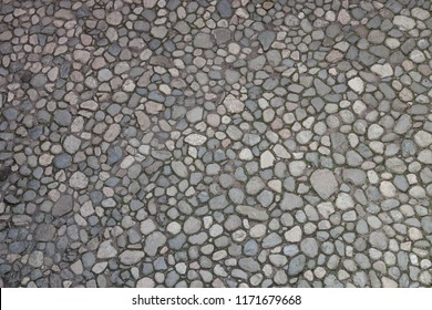 Old cobblestone pavement from above
