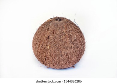 an old coconut fruit that has been peeled off isolated with a white background.