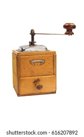 Old coffee grinder with clipping path