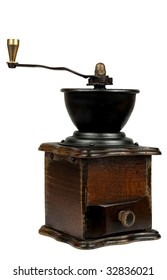 Old coffee grinder - isolated on the white background