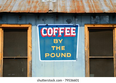 Old coffee shop with sign