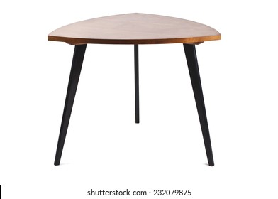 Old coffee table isolated on white background