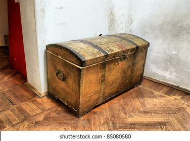 old coffer on dirty floor