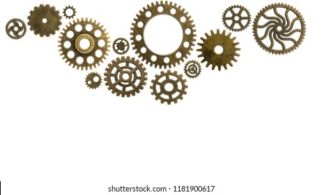 Old cogs on a worn isolated background technology circuits machine