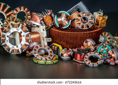 Old coils of copper for the scrap