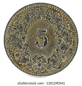 Old coin. 5 rappen. Switzerland 1913. Reverse.