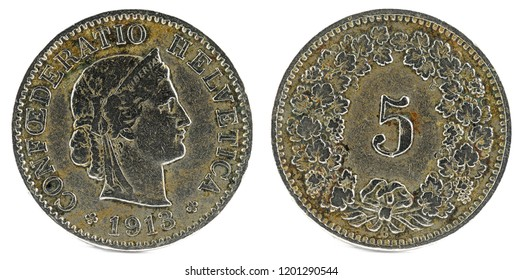 Old coin. 5 rappen. Switzerland 1913.