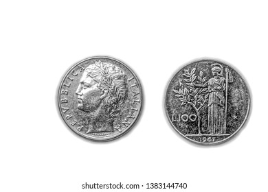Vintage Repubblica Italiana Lire Italy Italian 100 Lira Coin Cufflinks