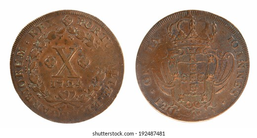 Old coin Portugal 10 reys 1724