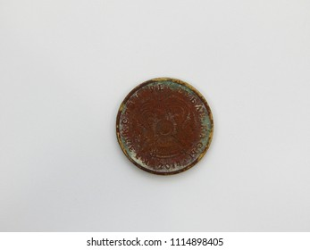 Old coin ten tenge. Kazakhstan. Close-up. on a white background.