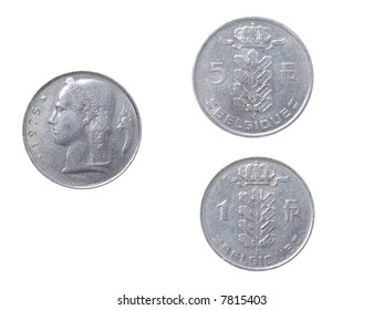 Old  coins to Belgium.set of coins from different countries isolated on a white background
