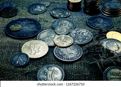 Old coins and money. Numismatics and collecting money.Russian Empire and world currency.Antiques silver,gold.The treasure chest.Finding a fortune