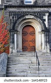 old college building door