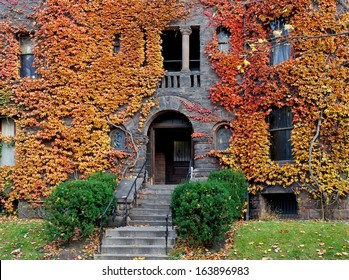 old college building with fall ivy