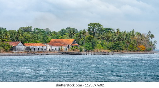 Old colonial buildings, Portuguese. Travel to Sao Tome and Principe. Beautiful paradise island in Gulf of Guinea. Former colony of Portugal.